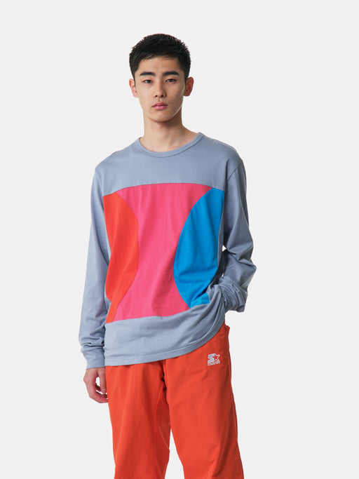 ALOYE Color Blocks Long Sleeve T-shirt Gray