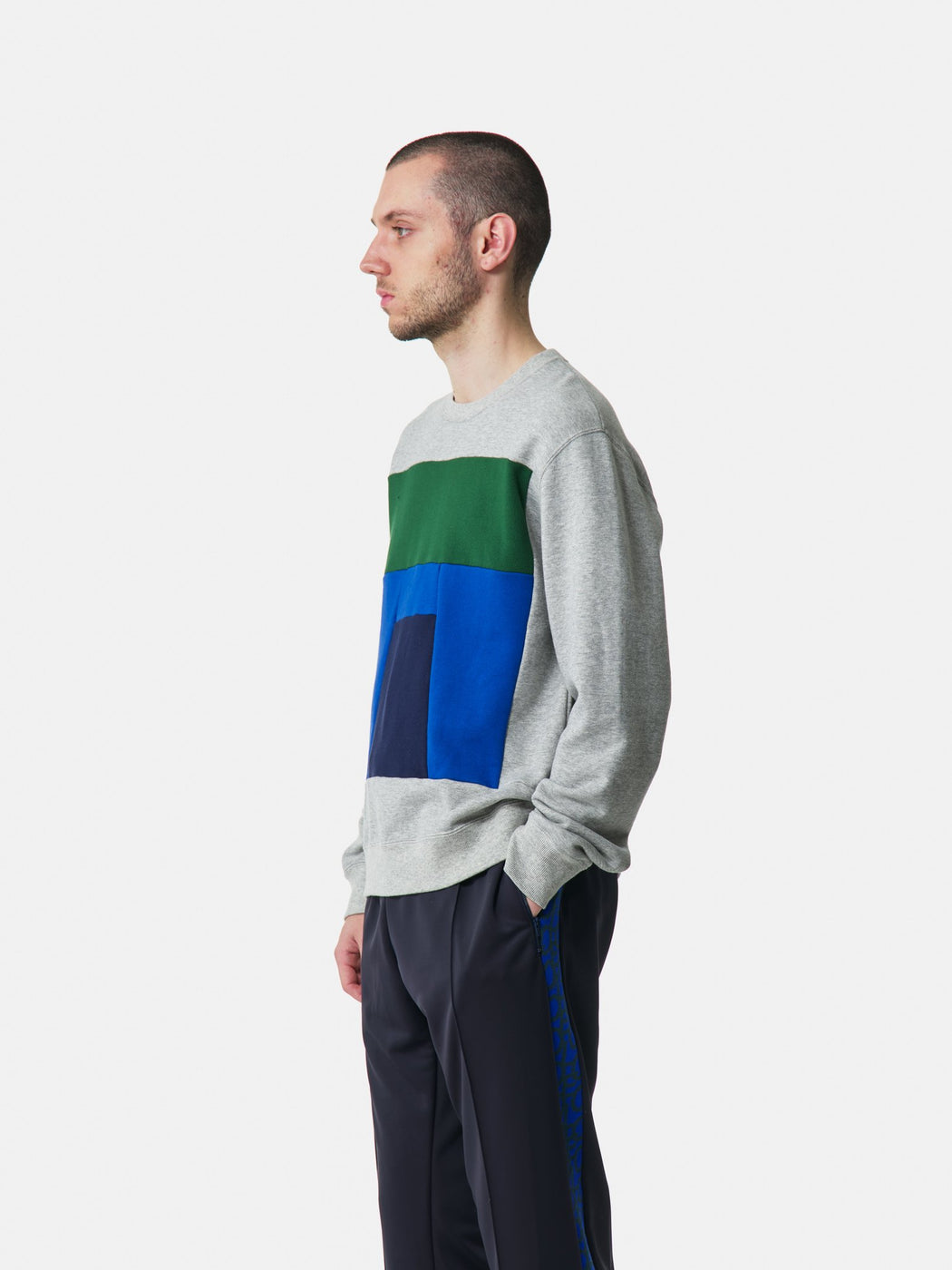 ALOYE Color Blocks Sweatshirt Heather Gray