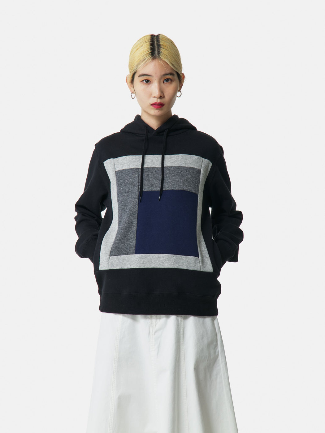 ALOYE Color Blocks Hoodie Black