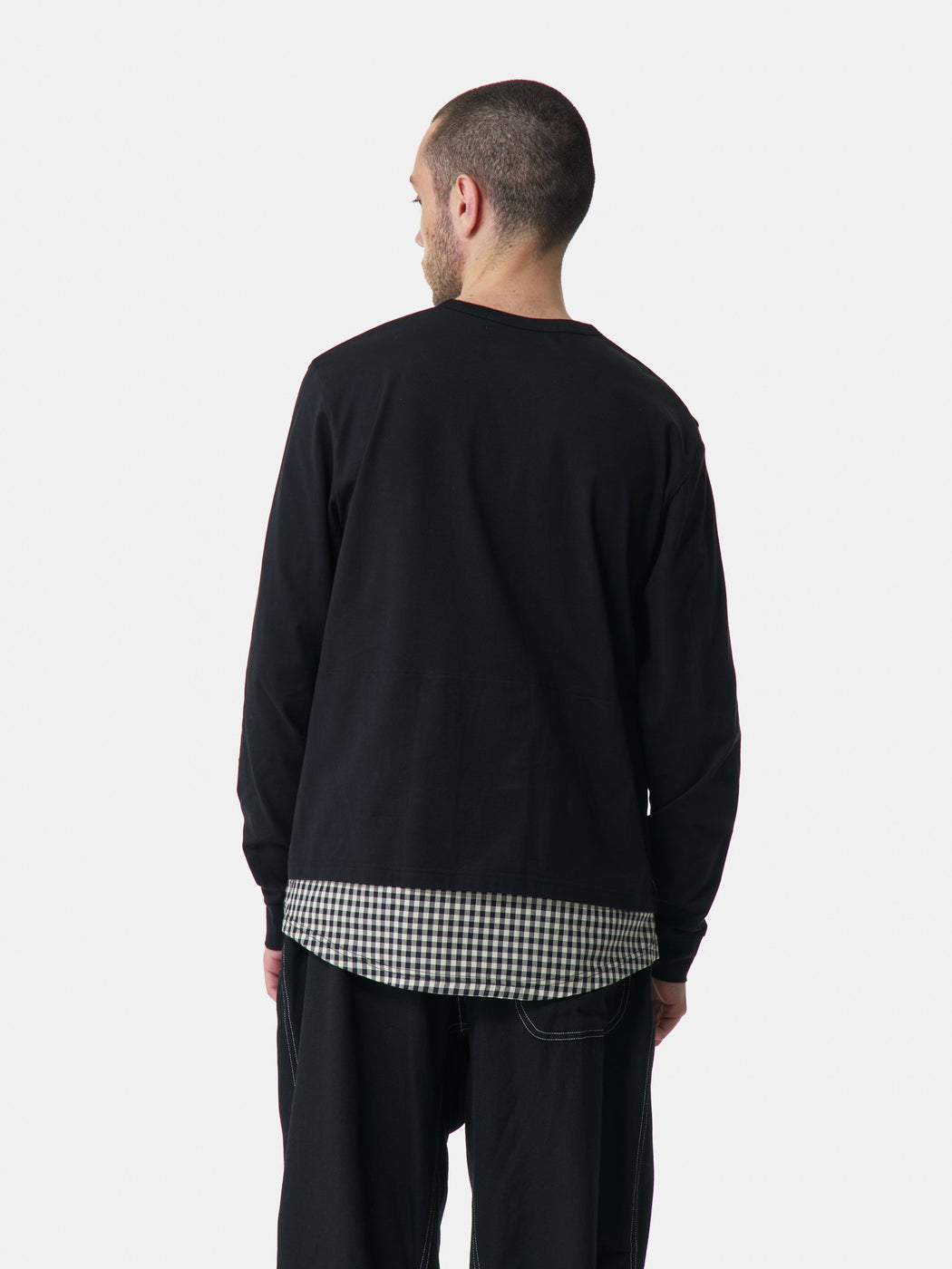 ALOYE Shirt Fabrics Long Sleeve Layerd T-shirt Black