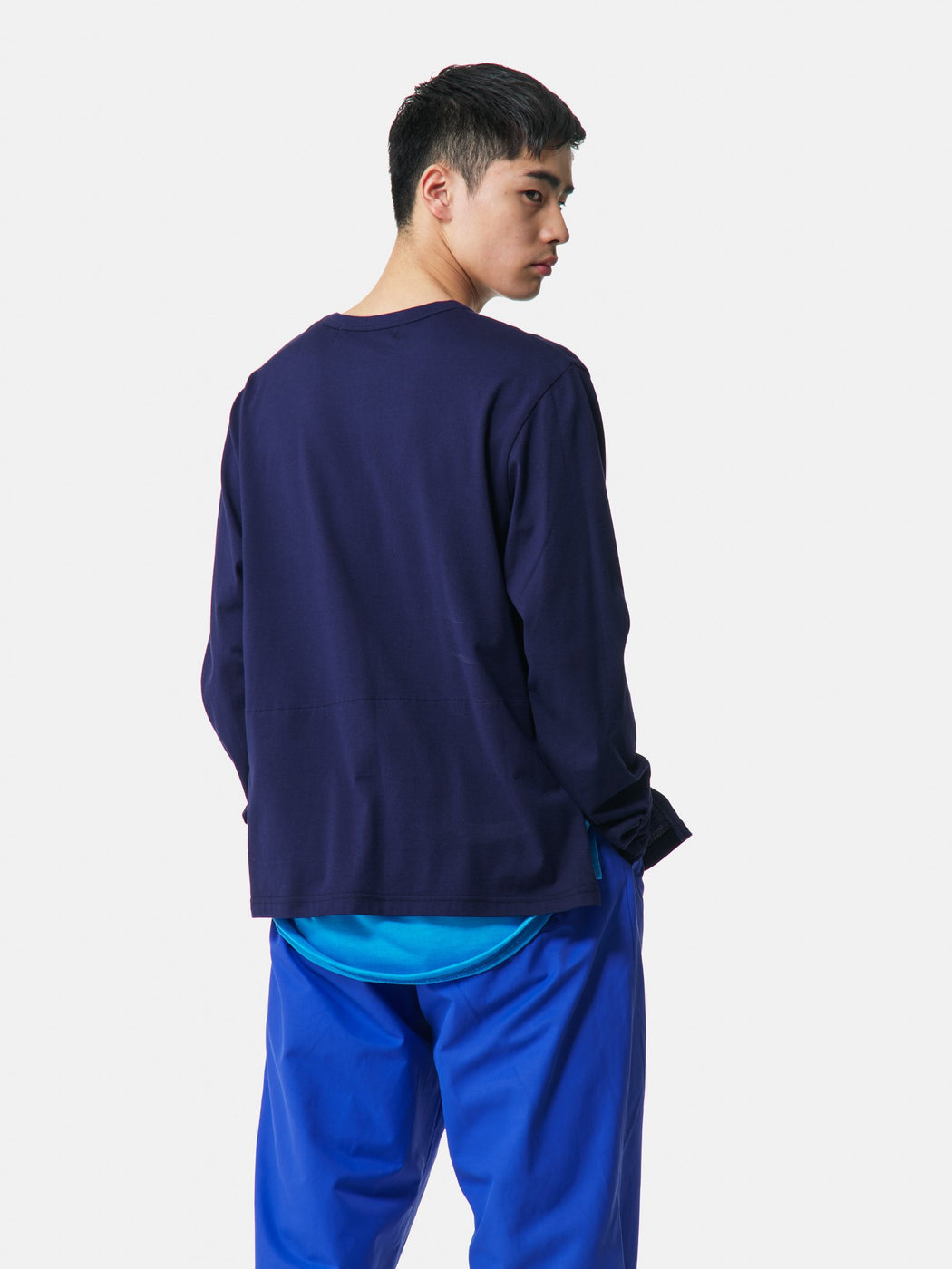 ALOYE Shirt Fabrics Long Sleeve Layerd T-shirt Navy