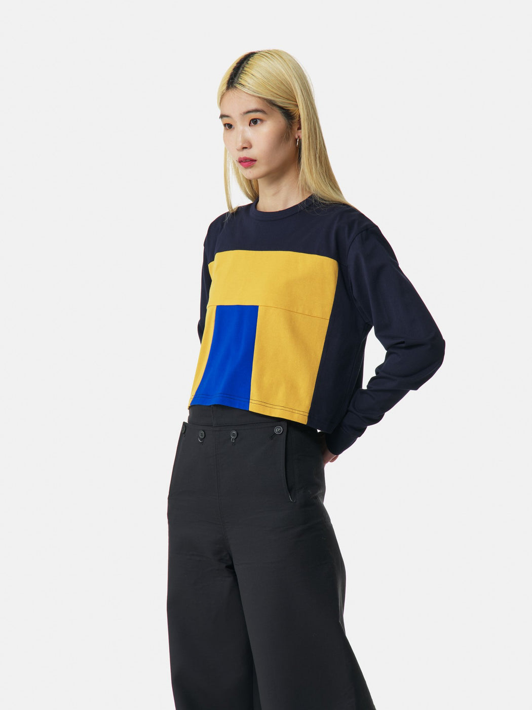 ALOYE Color Blocks Women's Long Sleeve Wide T-shirt Navy