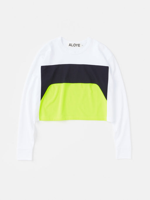 ALOYE Color Blocks Women's Long Sleeve Wide T-shirt White