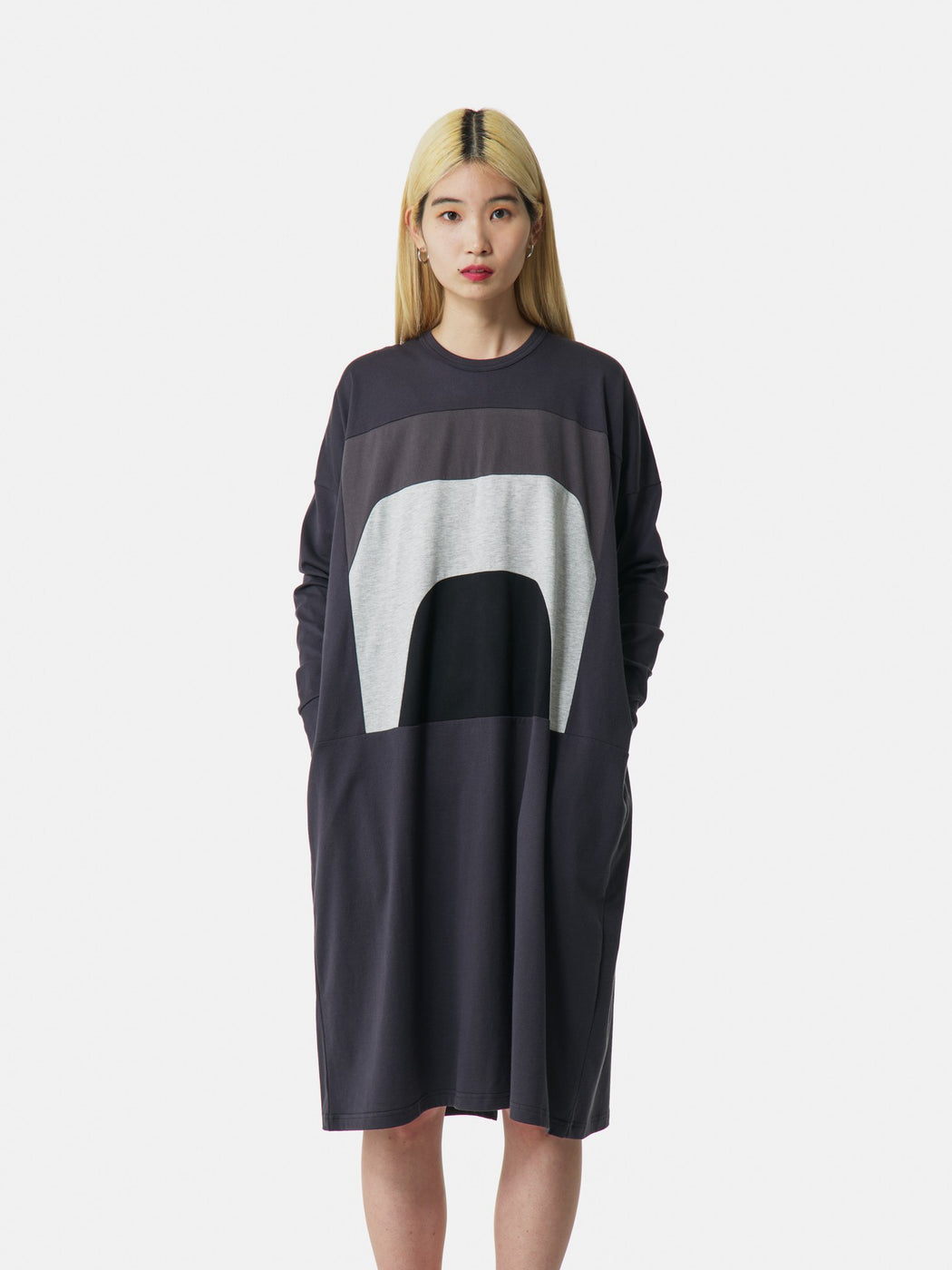 ALOYE Color Blocks Women's Long Sleeve T-shirt Dress Dark Gray