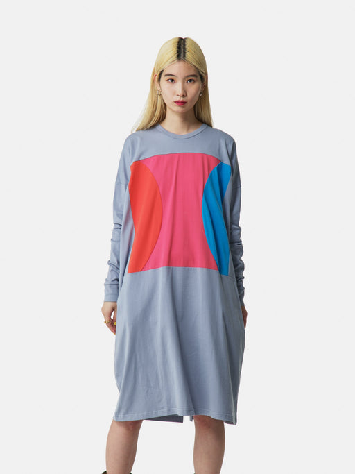 ALOYE Color Blocks Women's Long Sleeve T-shirt Dress Gray