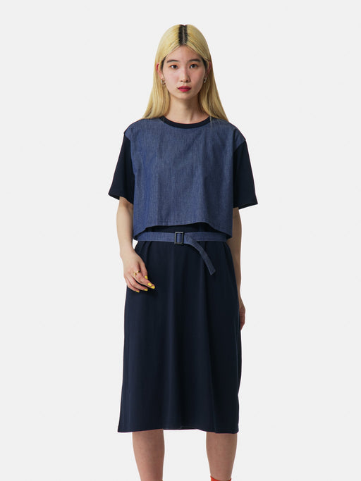 ALOYE Shirt Fabrics Women's Short Sleeve T-shirt Dress Navy