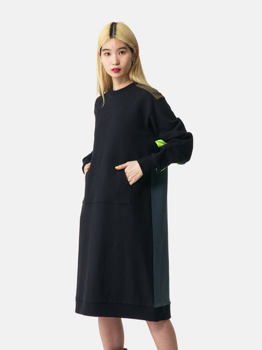 ALOYE Color Blocks Women's Sweatshirt Dress Black