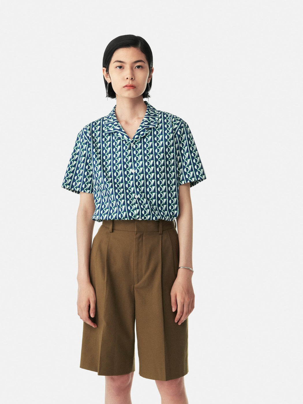 ALOYE Anniversary Textile Short Sleeve Open Collar Shirt Color