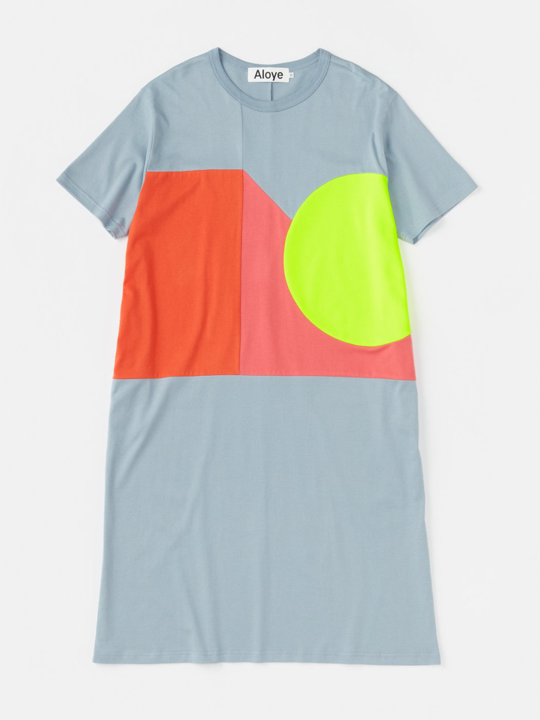 ALOYE Color Blocks Women's Short Sleeve T-shirt Dress Color