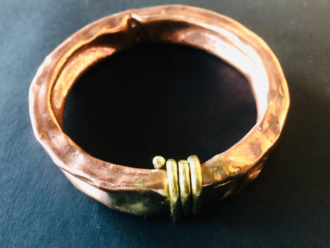 Extra wide copper bangle wrap