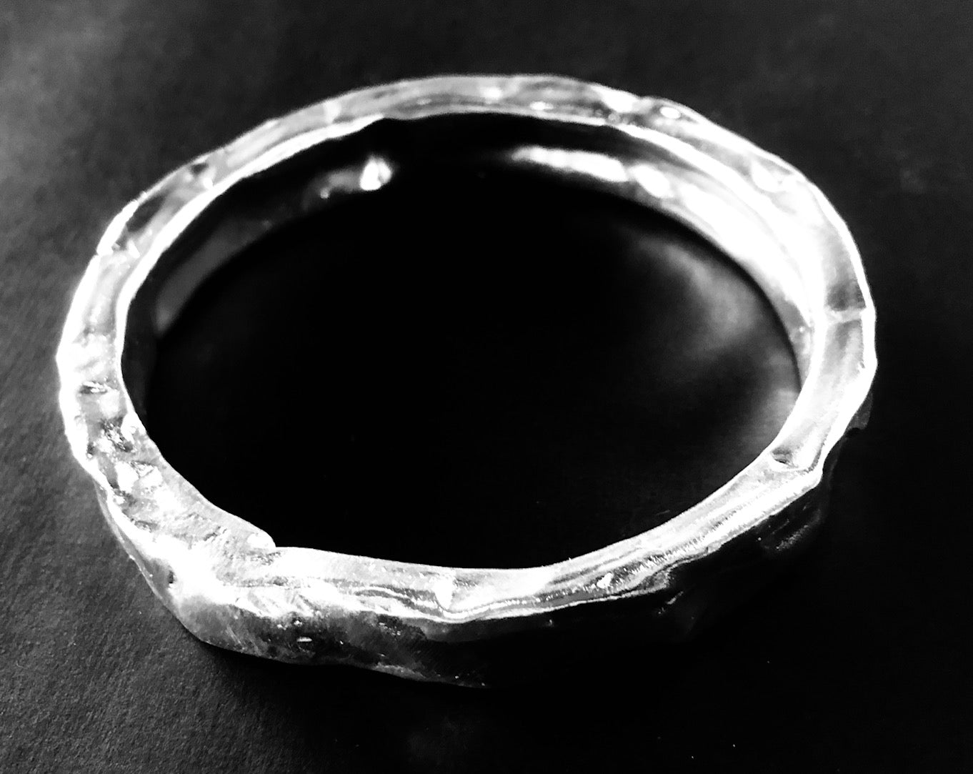Extra wide silver bangle