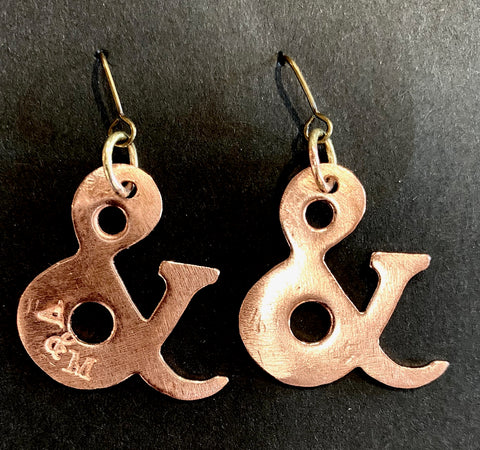 Ampersand copper earrings