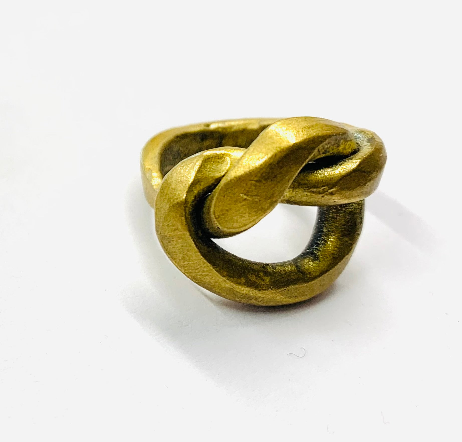 Big brass knot ring