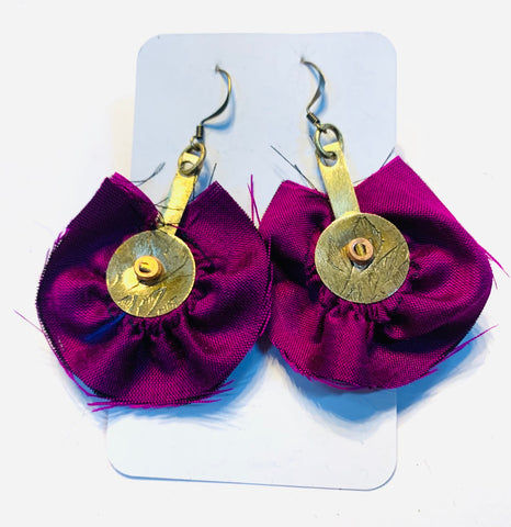 Brass circles and fuscia silk earrings