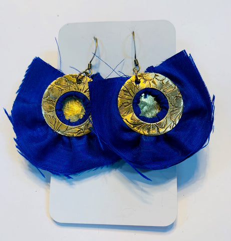 Brass circles and cobalt blue silk earrings