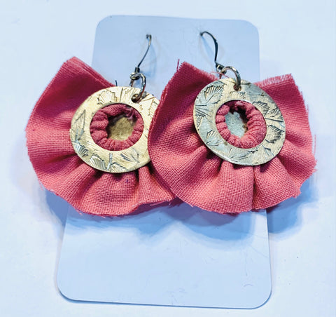 Brass circles and coral linen earrings