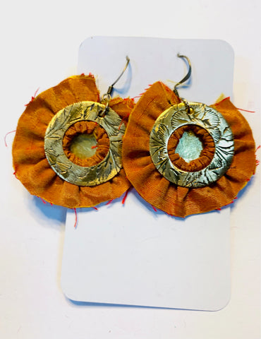 Brass circles and orange silk earrings