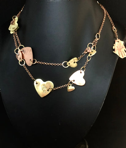 Chain of hearts 2 tier necklace
