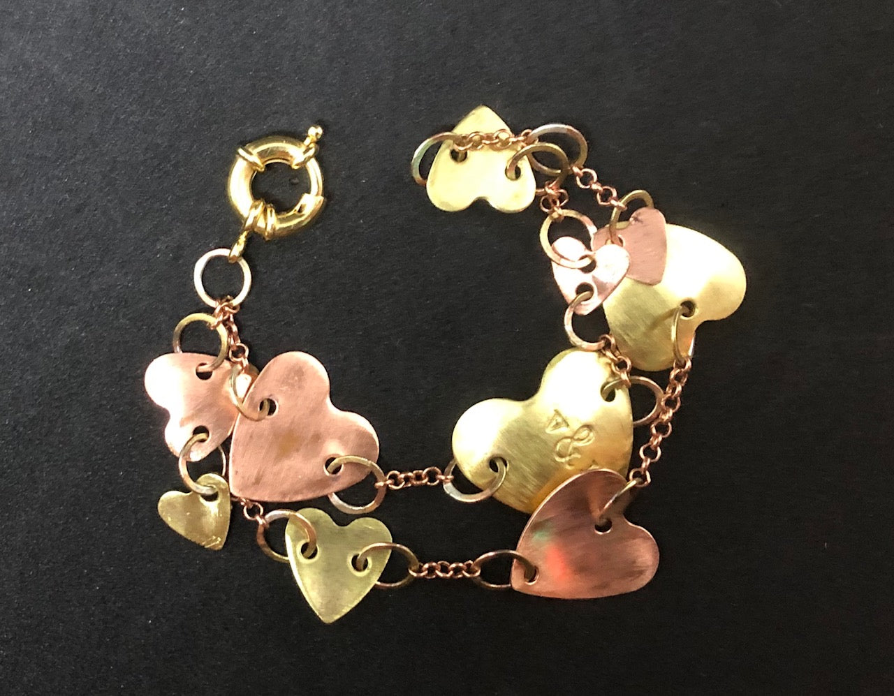 Chain of hearts 2-tier bracelet