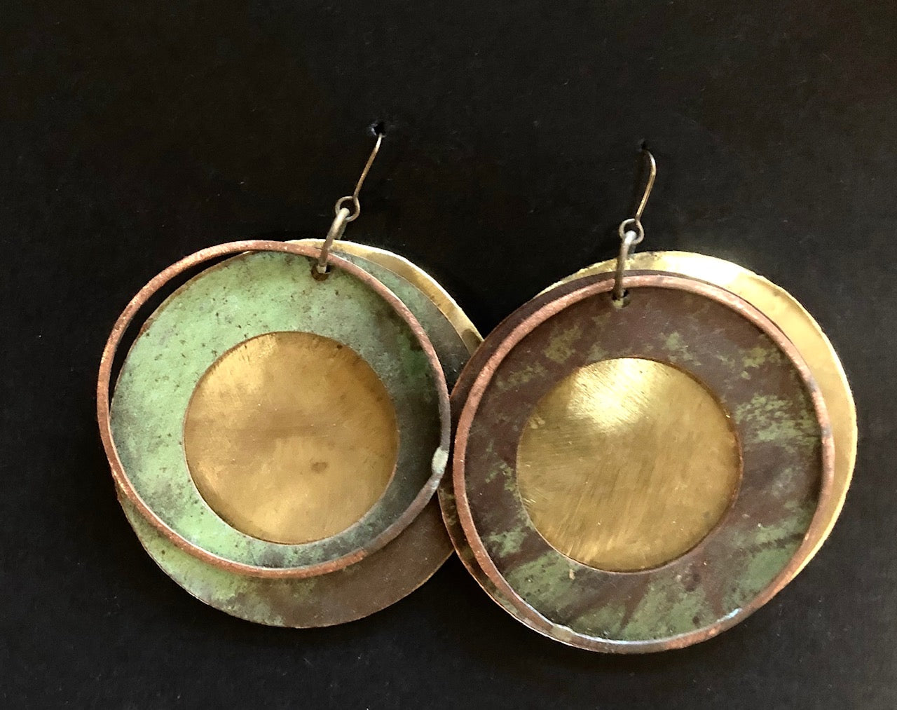 Salvage church roof earrings disc