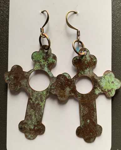 Salvage Church Roof Holey Cross earrings