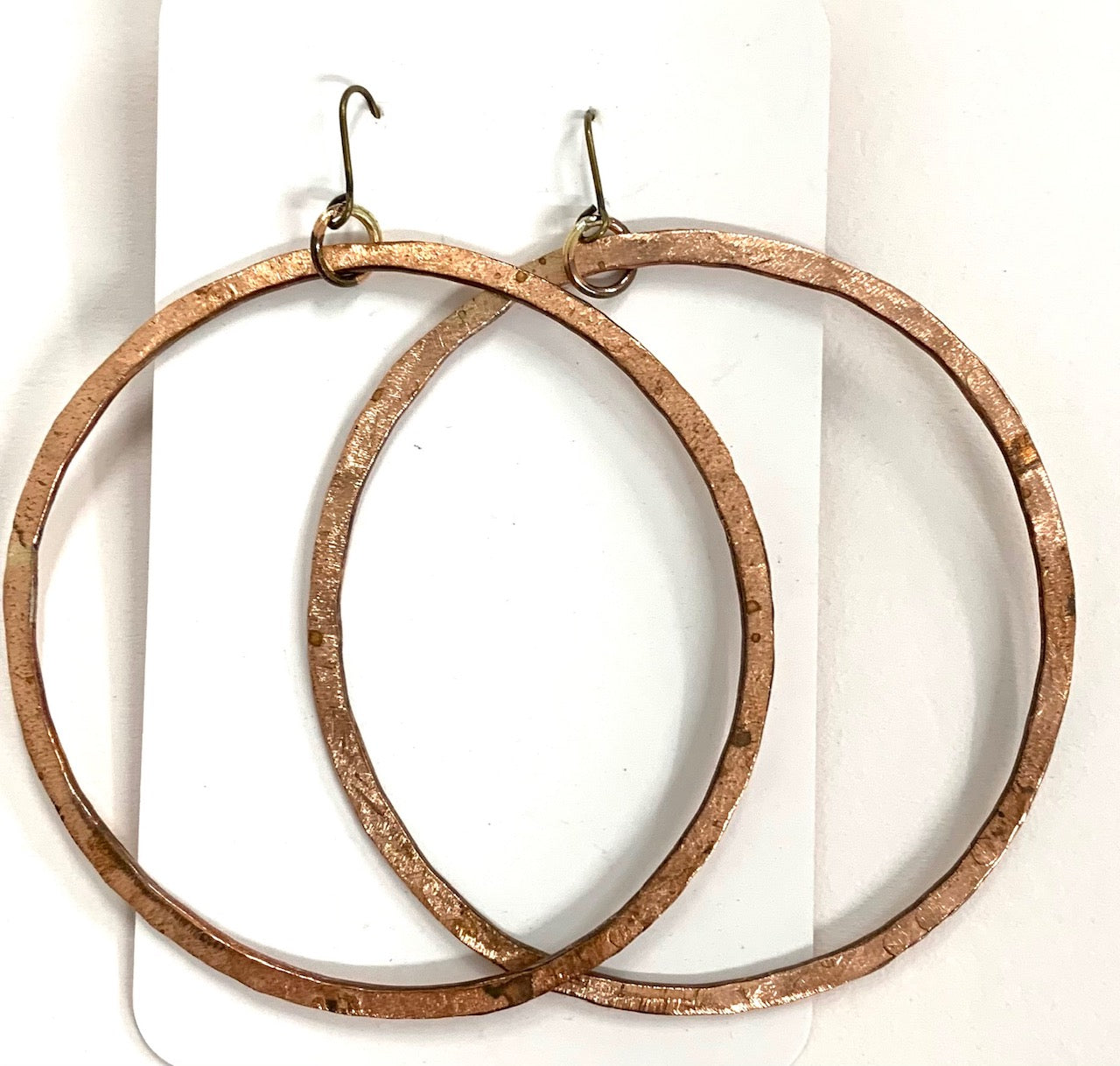 Large hoop copper earrings