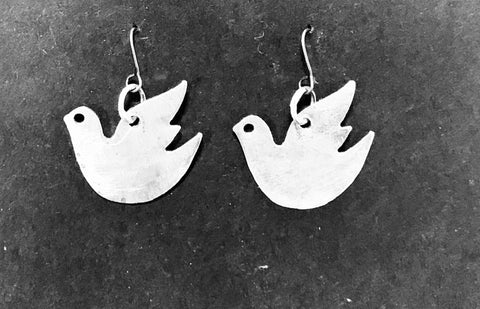Dove silver earrings
