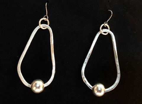Hoop and bead pear silver earrings