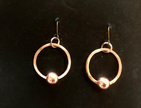Hoop and bead copper earrings round