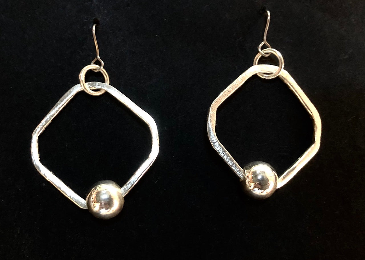 Hoop and bead square silver earrings