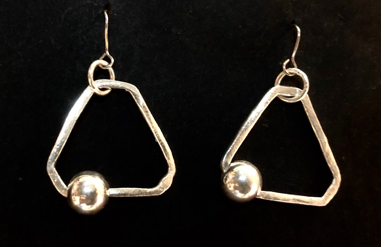 Hoop and bead triangle silver earrings