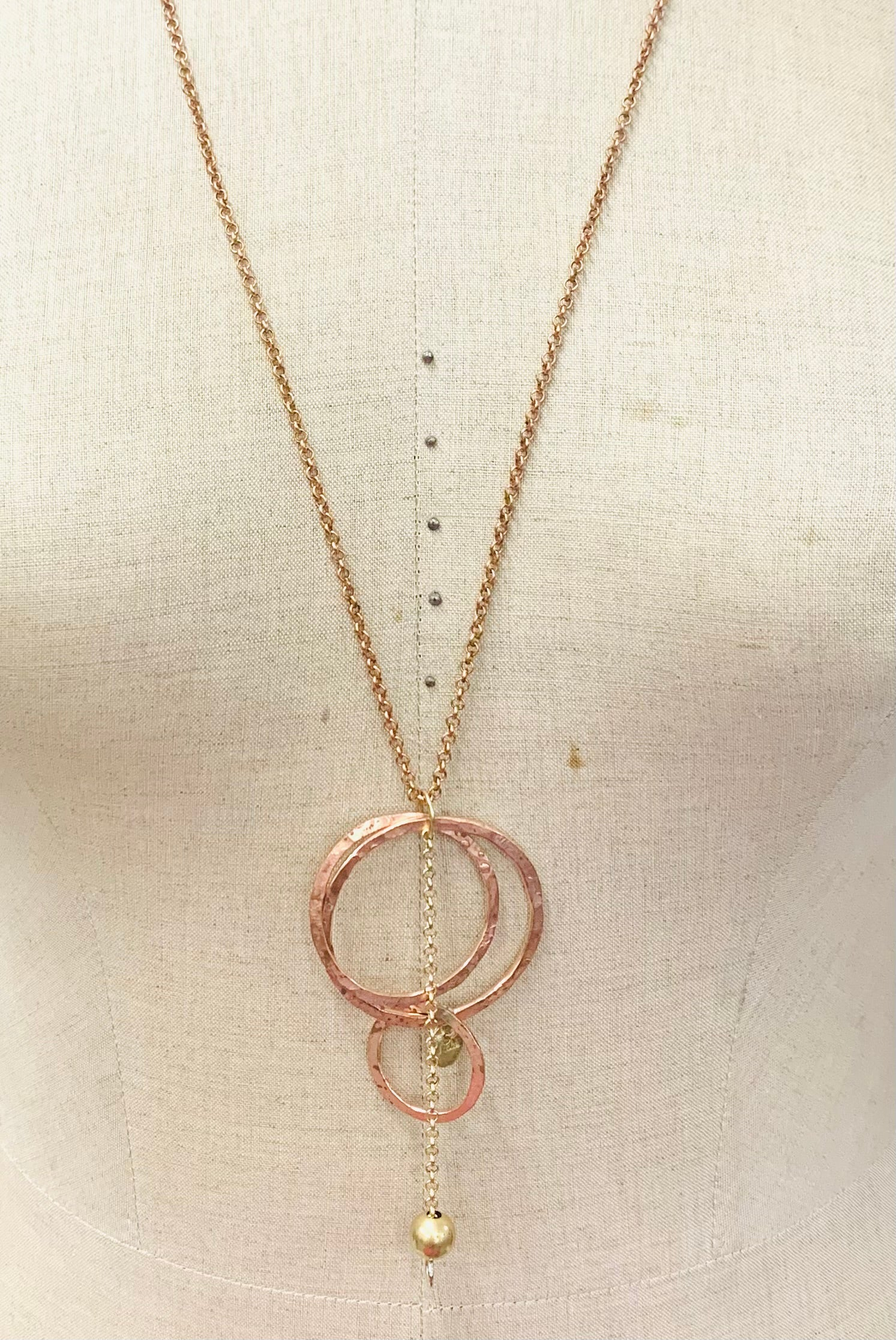 Hoop and chain copper pendant