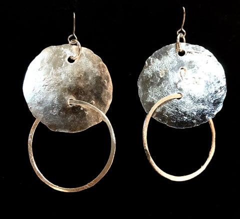Hoop and disc silver earrings