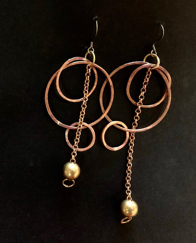 Copper hoop and chain earrings