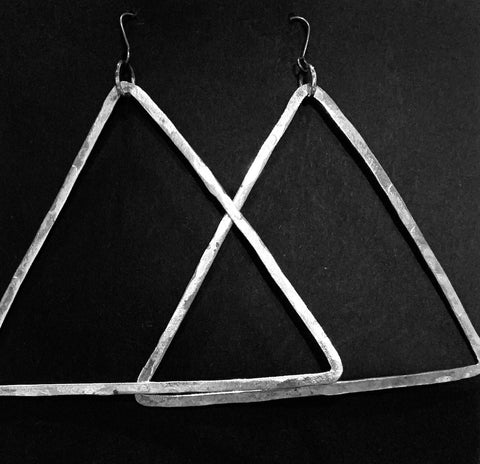 Large triangle silver earrings