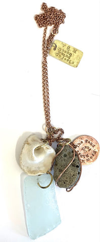 Ocean Found Objects cluster pendant