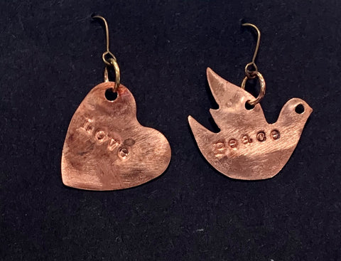 Peace Love Dove copper earrings
