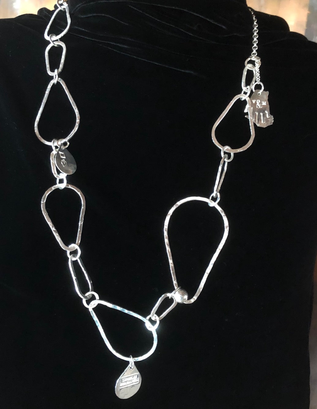 Pear necklace silver