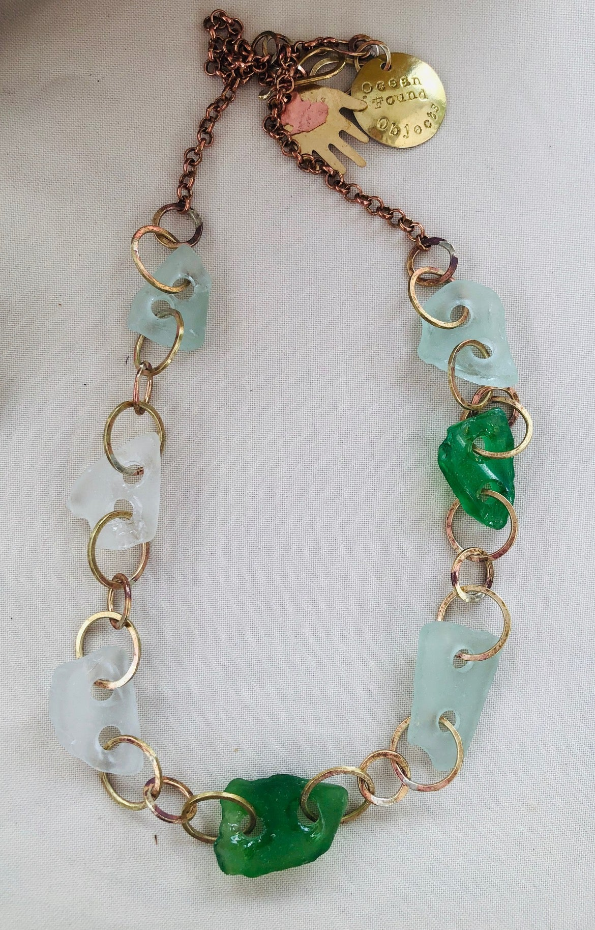 Sea glass hoop necklace
