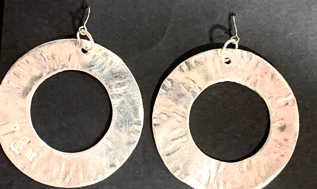Retro circle silver earrings