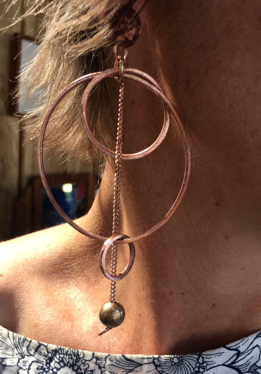 Hoop & chain copper earrings