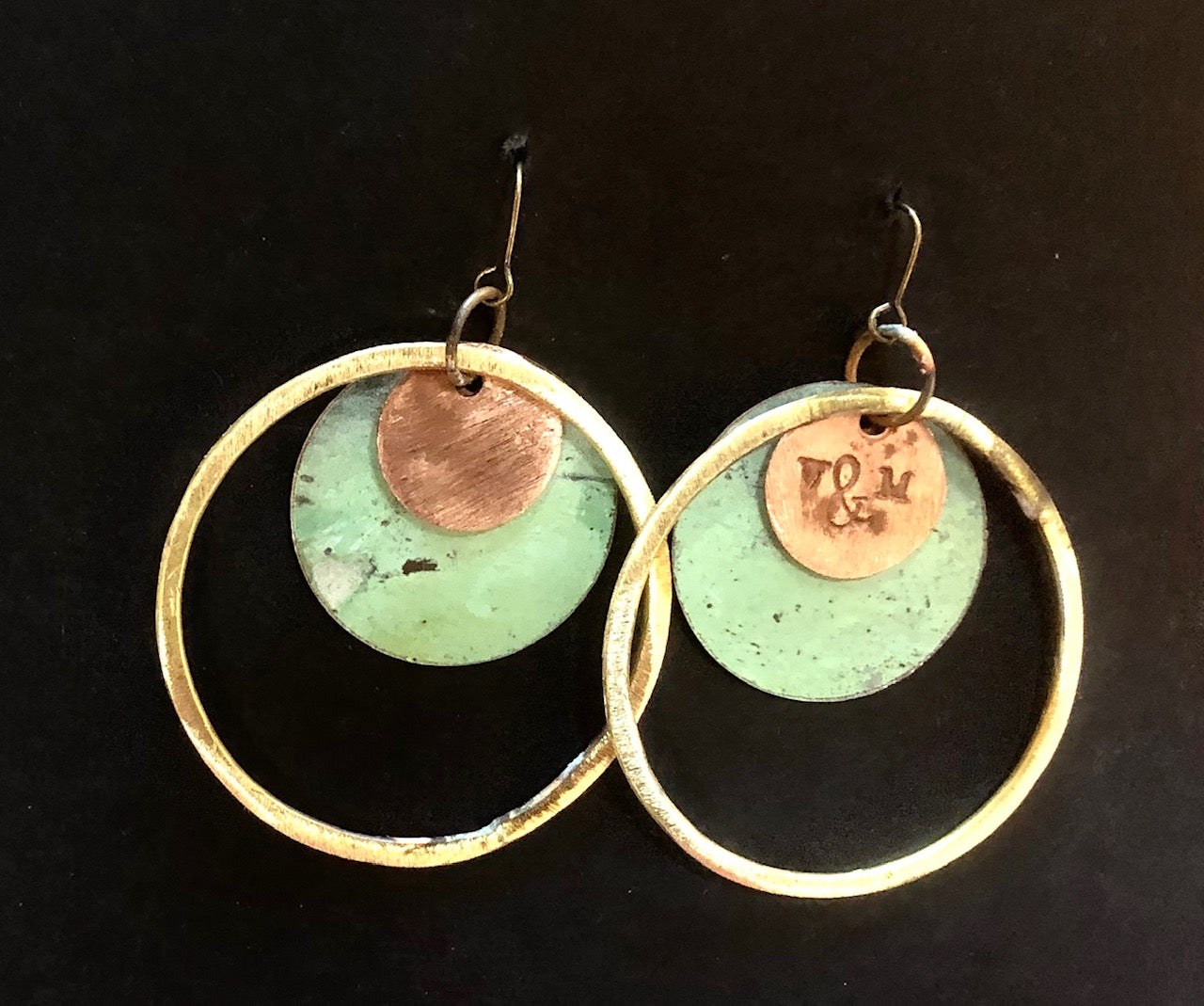 Church patina roof earrings triple circle 65