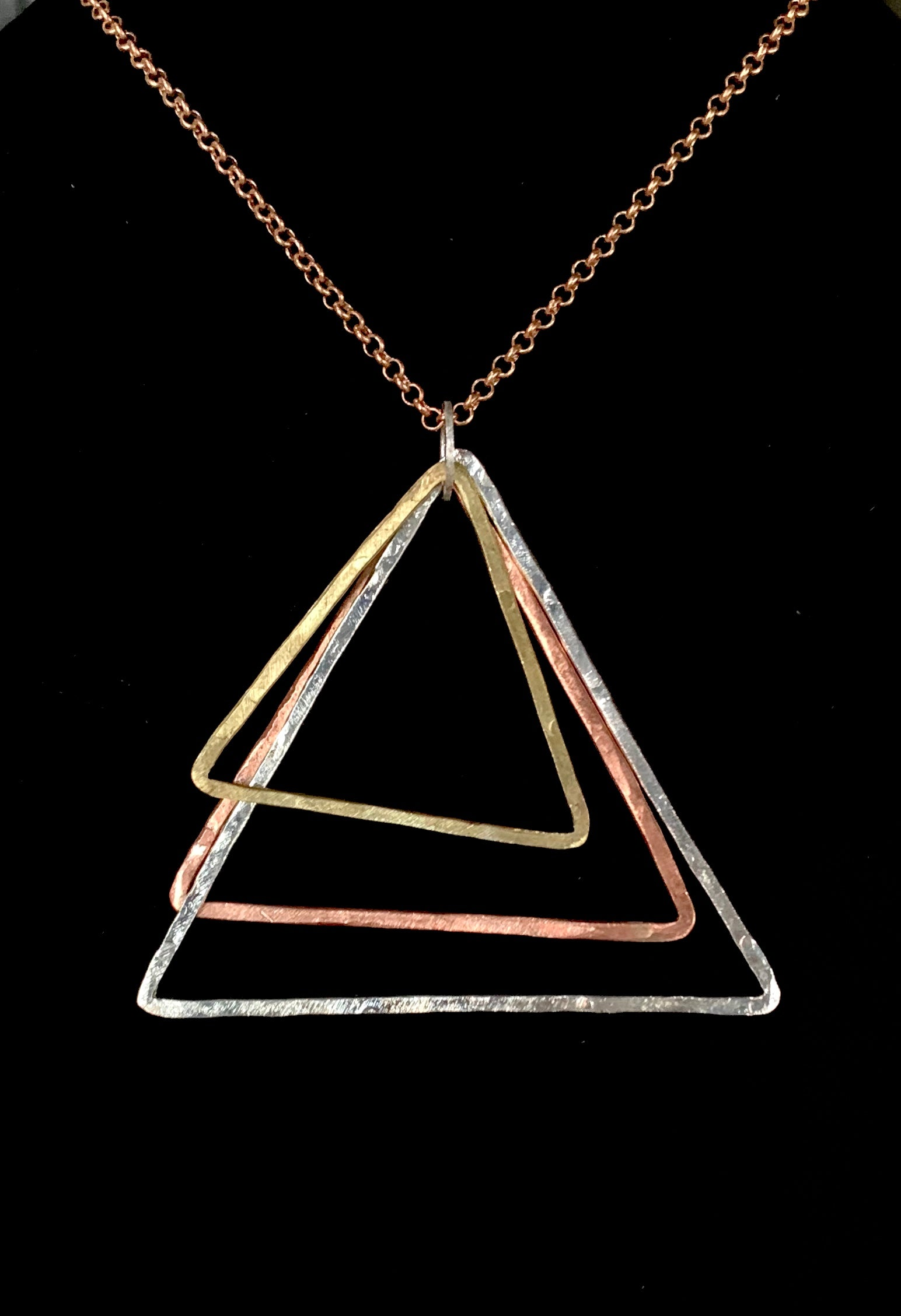 Triple triangle mixed metal pendant