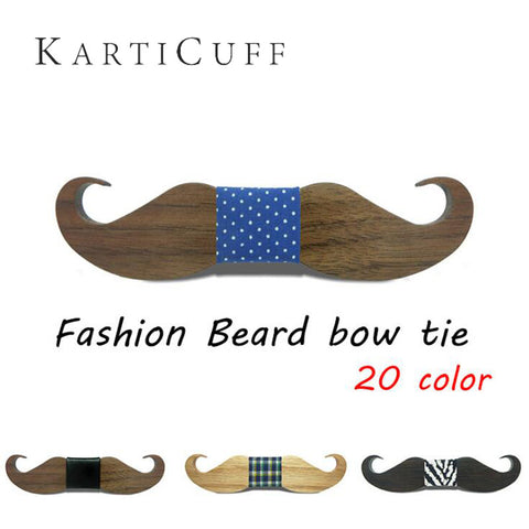 Men Leisure Party Beard Shape Wooden Cravat