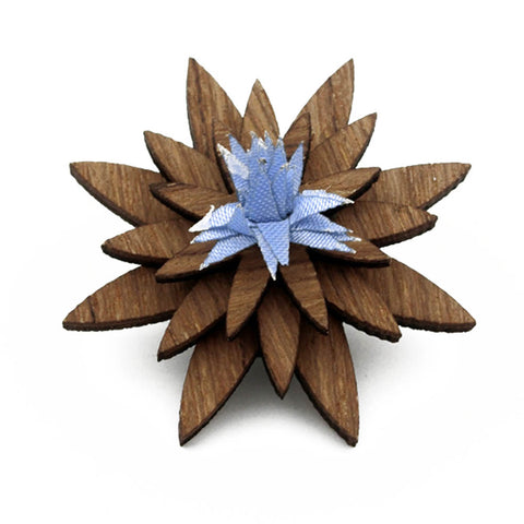 Vintage Flower Wooden Brooch Suit Wedding.