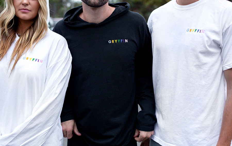 GRYFFIN Rainbow Embroider Hooded Long Sleeve Tee