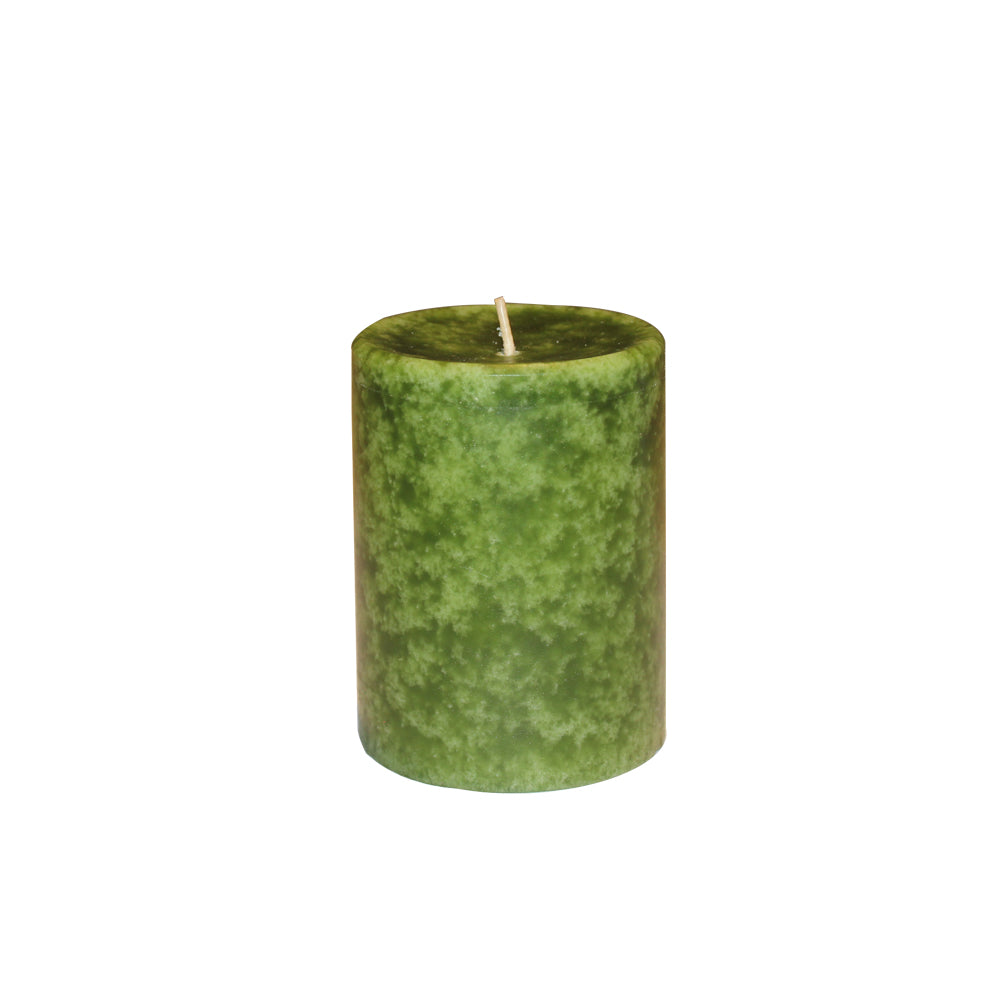 GREEN SCENTED PILLAR CANDLE- BALSAM CEDAR AROMA - 3 INCHES