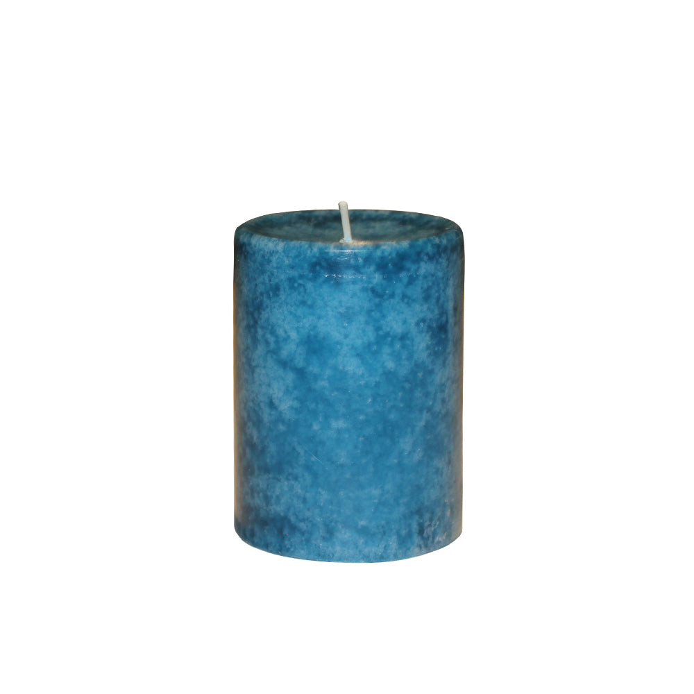 BLUE SCENTED PILLAR CANDLE - SUNSET BREEZE AROMA - 3 INCHES