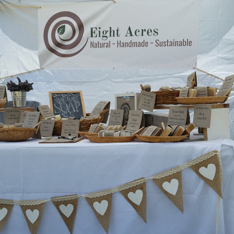 Eight Acres natural handmade tallow soap at farmers market in South Burnett