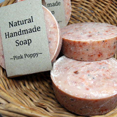 Pink Poppy Natural Soap - with a gentle exfoliant